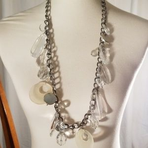 Silver Toned Necklace w/ Clear Beads